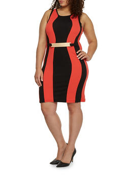 Plus Size Colorblock Bodycon Dress with Metal Bar Accent - 1390038347863