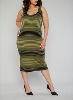 Plus Size Striped Tank Dress - OLIVE - 1390038347910
