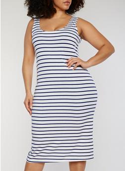 Plus Size Striped Mid Length Tank Dress - 1390038347911