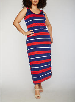 Plus Size Striped Maxi Dress - 1390038347922