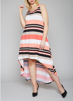 Plus Size Striped High Low Tank Dress - 1390038347932