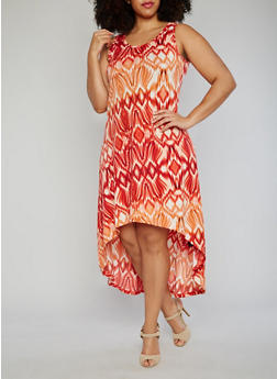 Plus Size Sleeveless Tie Dye High Low Dress - 1390038347935