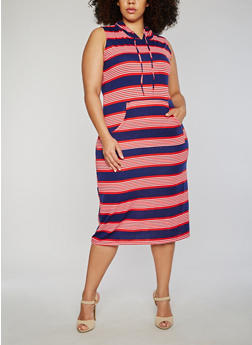 Plus Size Striped Midi Bodycon Dress with Hood - 1390038347940