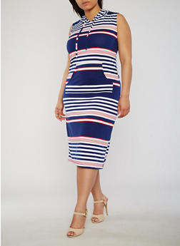 Plus Size Striped Americana Dress with Hood - 1390038347942