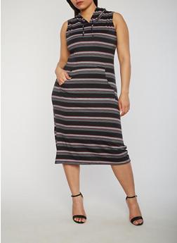 Plus Size Striped Kangaroo Pocket Dress with Hood - 1390038347943