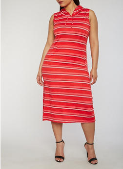Plus Size Striped Kangaroo Pocket Dress with Hood - 1390038347943