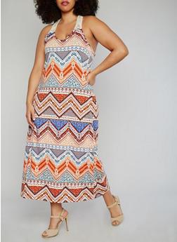 Plus Size Racer Back Aztec Print Maxi Dress with Crochet Details - 1390038347950