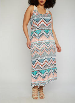 Plus Size Racer Back Aztec Print Maxi Dress with Crochet Details - 1390038347950