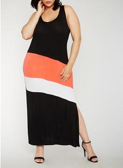 Plus Size Sleeveless Color Block Maxi Dress - 1390038347978