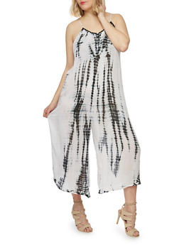 Plus Size Crinkle Knit Tie Dye Gaucho Jumpsuit - 1390038348328
