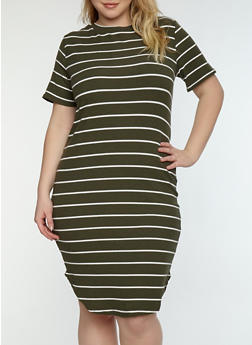 Plus Size Striped Ribbed Knit Dress - 1390038348701