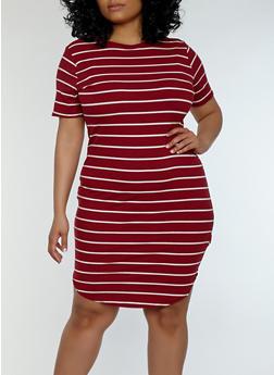 Plus Size Striped Ribbed Knit Dress - 1390038348701