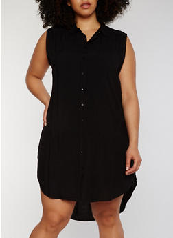 Plus Size Sleeveless Button Front High Low Shirt Dress - BLACK - 1390038348702