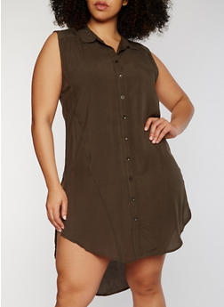 Plus Size Sleeveless Button Front High Low Shirt Dress - OLIVE - 1390038348702