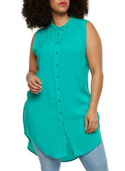 Plus Size Sleeveless Button Front High Low Shirt Dress - 1390038348702