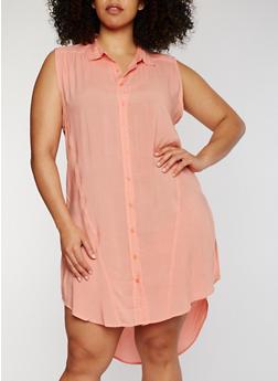 Plus Size Sleeveless Button Front High Low Shirt Dress - 1390038348702