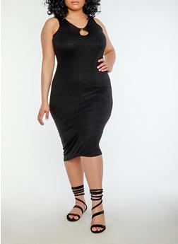 Plus Size Keyhole Midi Dress - BLACK - 1390038348708
