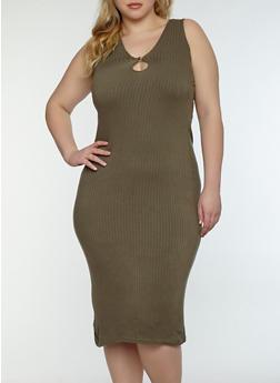 Plus Size Keyhole Midi Dress - OLIVE - 1390038348708