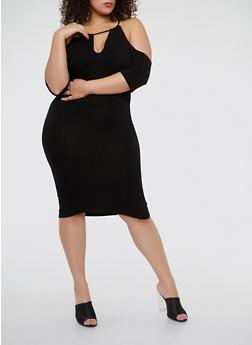 Plus Size Rib Knit Cold Shoulder Dress - BLACK - 1390038348715