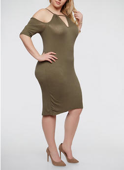 Plus Size Rib Knit Cold Shoulder Dress - 1390038348715