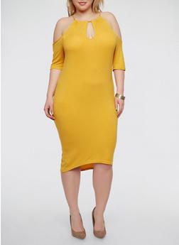 Plus Size Rib Knit Cold Shoulder Dress - 1390038348715