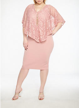 Plus Size Lace Overlay Dress - 1390038348749