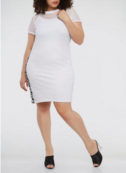 Plus Size Real Love Graphic Fishnet Dress - WHITE - 1390038348779