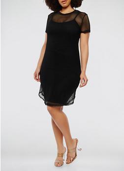 Plus Size Fishnet T Shirt Dress - BLACK - 1390038348780
