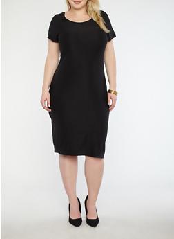 Plus Size Scoop Neck T Shirt Dress - BLACK - 1390038348801