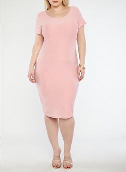 Plus Size Scoop Neck T Shirt Dress - 1390038348801