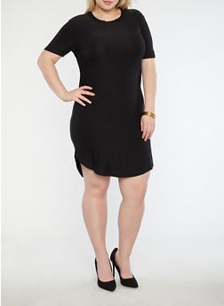 Plus Size Basic Soft Knit T Shirt Dress - BLACK - 1390038348804