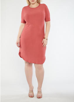 Plus Size Basic Soft Knit T Shirt Dress - 1390038348804