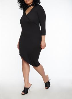 Plus Size Choker Neck Asymmetrical Dress - BLACK - 1390038348805