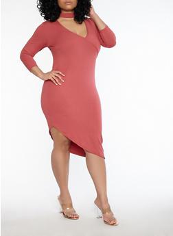 Plus Size Choker Neck Asymmetrical Dress - MAUVE - 1390038348805