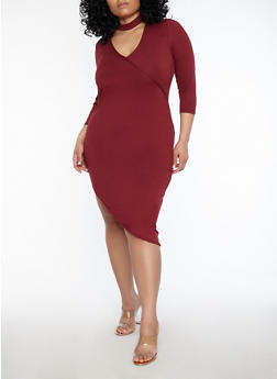 Plus Size Choker Neck Asymmetrical Dress - RASPBERRY - 1390038348805