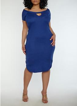 Plus Size Soft Knit Off the Shoulder Dress - 1390038348808