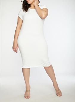 Plus Size Soft Knit Slashed Back Dress - 1390038348811