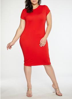 Plus Size Soft Knit Slashed Back Dress - 1390038348811