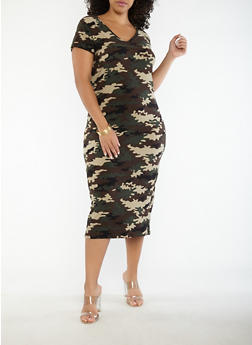 Plus Size Slashed Back Camo Dress - 1390038348855
