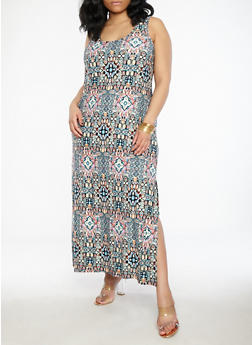 Plus Size Soft Knit Printed Maxi Dress - 1390038348918