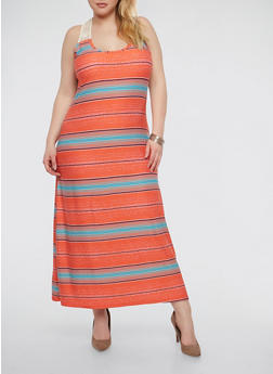 Plus Size Soft Knit Striped Maxi Dress - 1390038348919