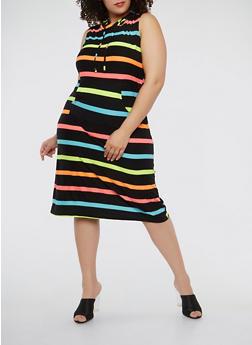 Plus Size Soft Knit Striped Hooded Dress - 1390038348928