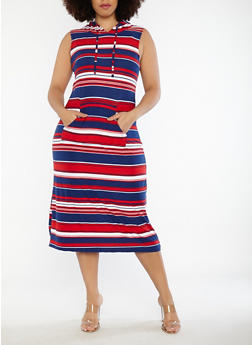 Plus Size Striped Soft Knit Hooded Dress - 1390038348931