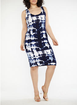 Plus Size Tie Dye Dress - 1390038348934