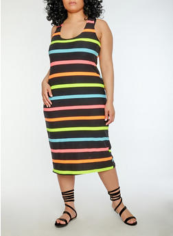 Plus Size Multi Stripe Tank Dress - 1390038348935
