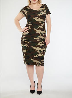 Plus Size Soft Knit Camo Print T Shirt Dress - 1390038348952