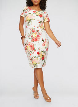 Plus Size Soft Knit Floral Print Dress - 1390038348953