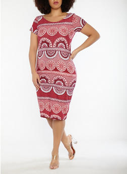 Plus Size Printed Soft Knit T Shirt Dress - 1390038348955