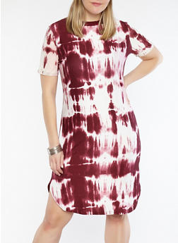 Plus Size Tie Dye T Shirt Dress - 1390038348967