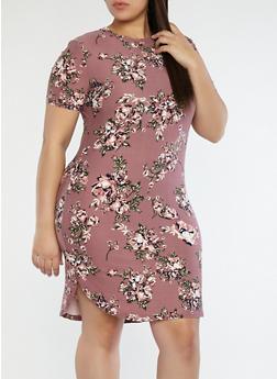 Plus Size Soft Knit Floral Tunic Top - 1390038348969